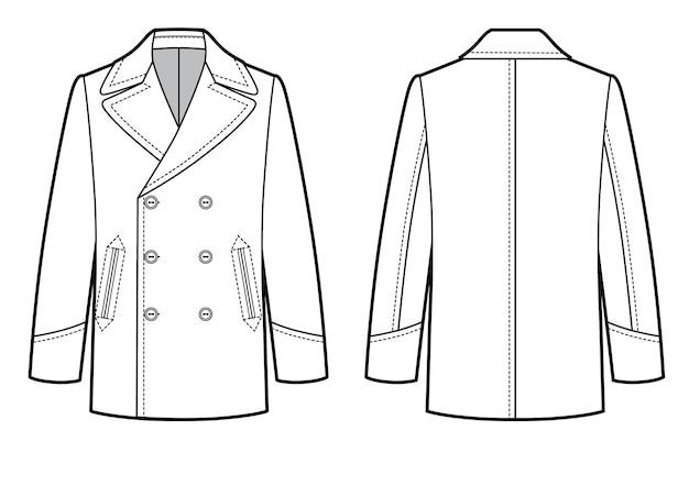고전적인 군사 남자 코트의 벡터 그림입니다. 비즈니스 스타일의 옷