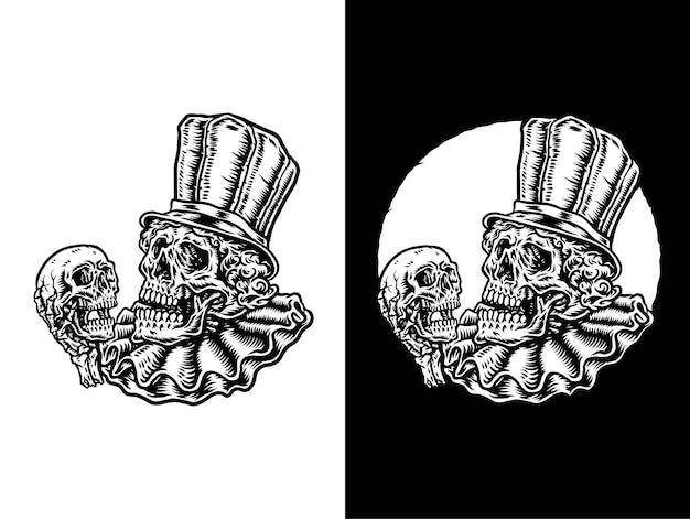 Векторная иллюстрация черепа клоуна