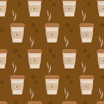 コーヒーパターンのベクトル図暖かい秋のラテの無限のパターン