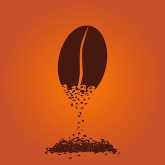 Векторная иллюстрация кофейных зерен. быстрорастворимый кофе
