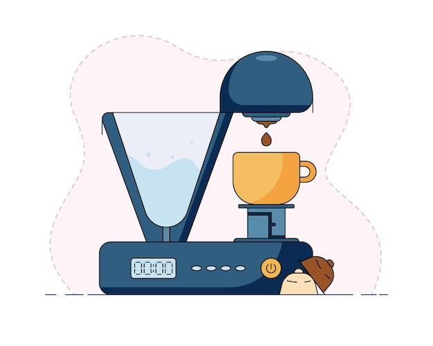 머그에 커피 캡슐과 우유 양조 커피가 있는 커피 머신의 벡터 그림