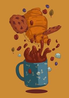 Векторная иллюстрация круассана кружка кофе и шоколадное печенье для кафе знак или дизайн меню