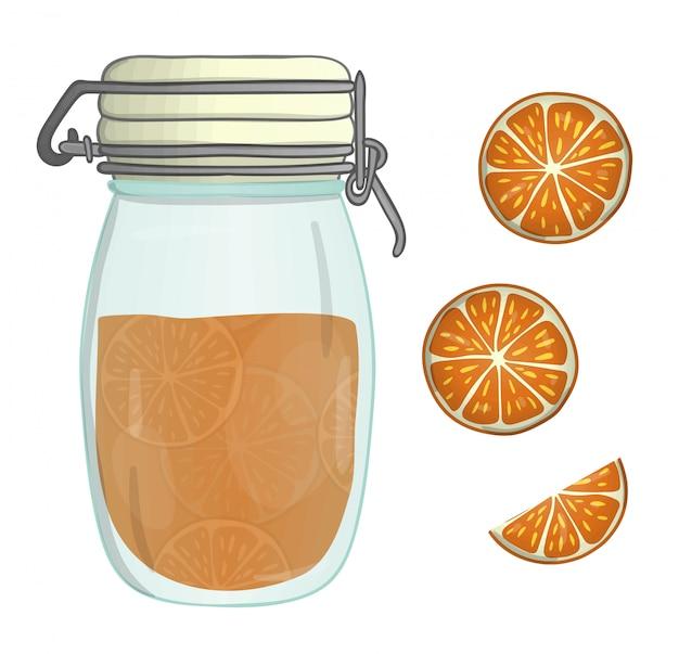 オレンジ色のジャムと色の瓶のベクトルイラスト。オレンジ色の部分、マーマレード、分離された鍋。水彩画の効果。