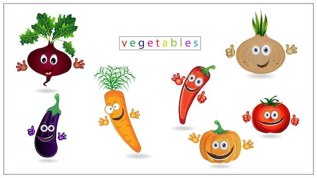 눈, 입, 손이 있는 색색의 채소의 벡터 삽화. 호박, 토마토, 가지, . eps 10.