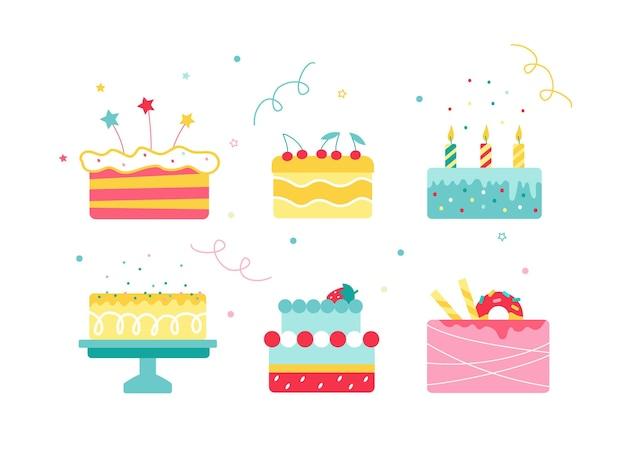 Векторная иллюстрация красочных тортов на белом фоне.