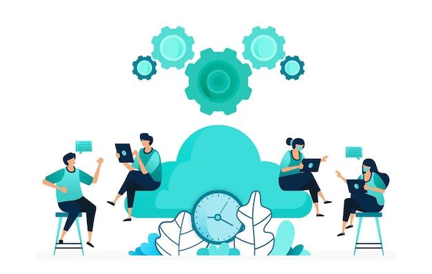 Векторная иллюстрация вычислительного времени на серверах хранения и хостинга. управлять синхронизацией облачной сети. группа работающих мужчин и женщин. разработан для веб-сайта, сети, целевой страницы, приложений, ui ux, плаката, флаера