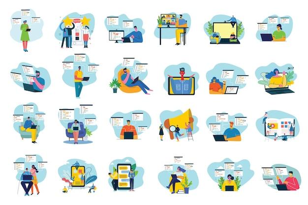 チームワーク、ビジネス、スタートアップの概念のベクトル図