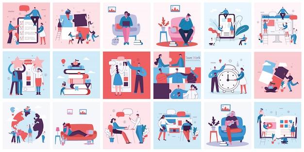Векторная иллюстрация концепции работы в команде, бизнеса и запуска