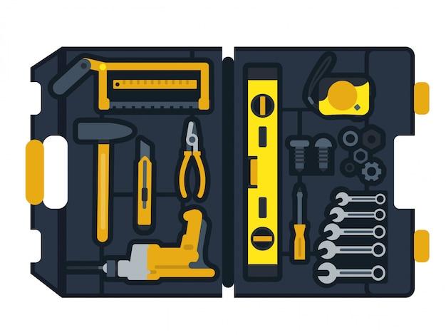 Векторная иллюстрация коробки строительных инструментов