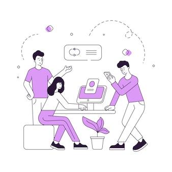 スマートフォンとコンピューターを使用してデータを分析する現代の男性と女性のベクトル図