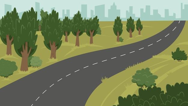 Векторная иллюстрация сельской местности, города и дороги