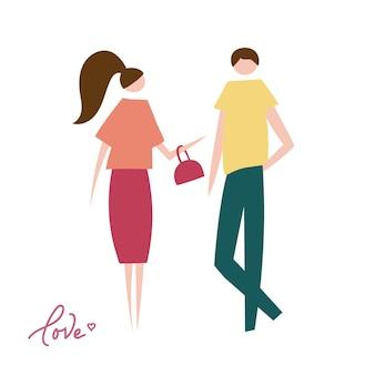 Векторная иллюстрация влюбленная пара. силуэт романтических персонажей людей.