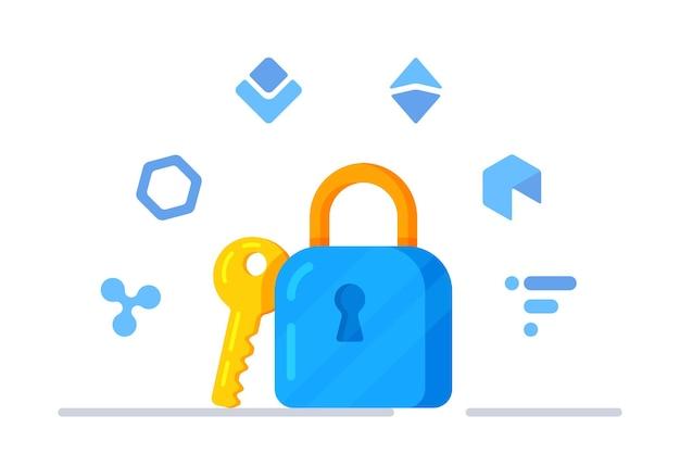 Векторная иллюстрация криптобезопасности. замок на ключ. символ замка. криптовалюта. шесть иконок цифровой валюты.