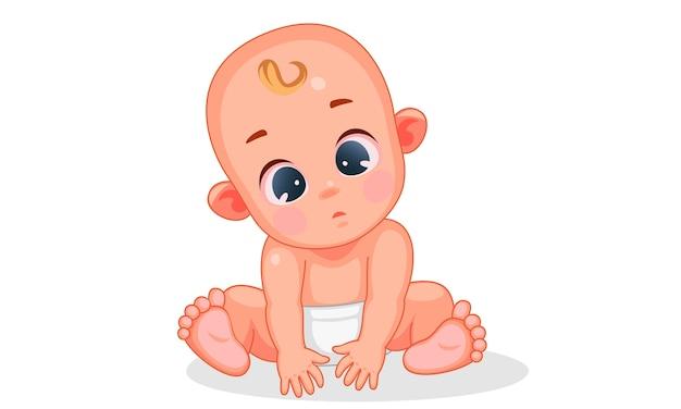 Векторная иллюстрация милый ребенок с разными выражениями