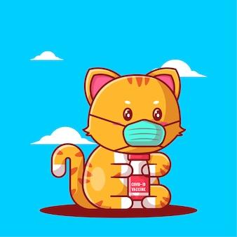 마스크를 쓰고 백신 병을 들고 있는 귀여운 만화 고양이의 벡터 삽화. 의학 및 예방 접종 아이콘 개념