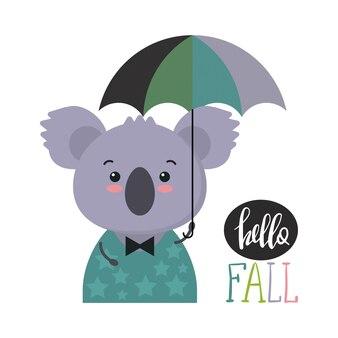 Векторная иллюстрация милого красочного животного с зонтиком забавная коала