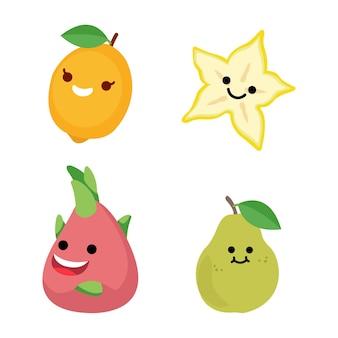 グラフィックデザインのさまざまなニーズに最適なかわいい果物のベクトルイラスト