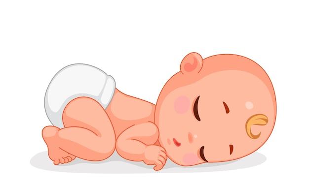 Векторная иллюстрация милый маленький ребенок спит