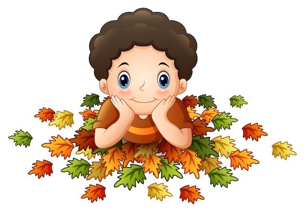 かわいい、少年、葉、葉