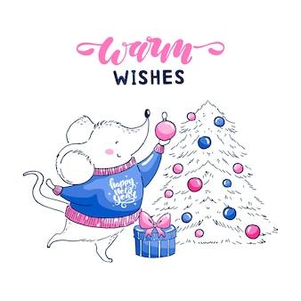 귀여운 작은 마우스의 벡터 그림은 크리스마스 트리를 장식하고 있습니다. 따뜻한 소원 글자 엽서