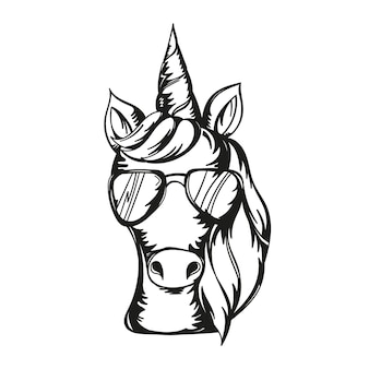 サングラスをかけているかわいいユニコーンの顔のベクトルイラスト-プリント、カード、tシャツのデザイン