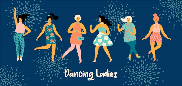 Векторная иллюстрация танцующих женщин