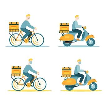 自転車とバイクの配達人のベクトルイラスト。白い背景で隔離の平らなイラスト。