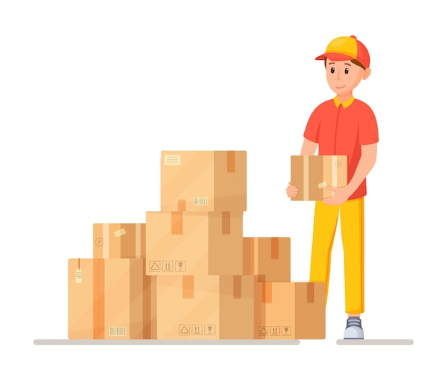 配達員の仕事のベクトルイラスト商品と宅配便が入った箱がたくさんあり、小包を配達します