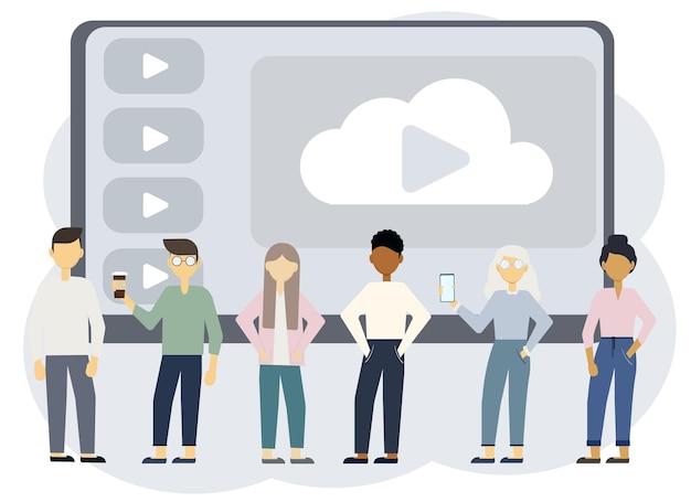 열린 턴테이블이 있는 노트북의 배경에 있는 서로 다른 세련된 남성과 여성의 벡터 그림