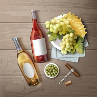 Векторная иллюстрация различных винных бутылок с закусками и ручкой штопора на деревянном столе, вид сверху