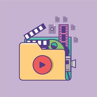 비디오 및 영화 파일의 디지털 비디오 폴더 아이콘 컬렉션의 벡터 일러스트 레이 션