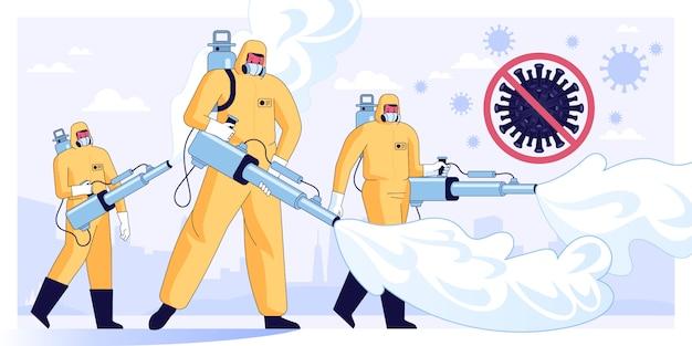 Векторная иллюстрация дезинфицирующих работников или ученых-медиков в защитной маске и костюмах для очистки и дезинфекции клеток коронавируса в городе.