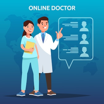 医師のベクトルイラストは仮想画面インターフェイスに触れます