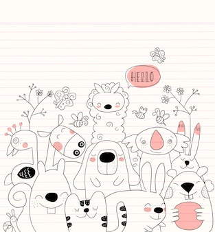 Vector illustration of Doodle cute animal background