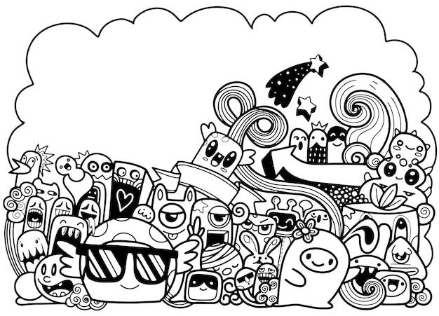 Векторная иллюстрация doodle милый монстр