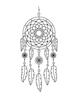 Векторная иллюстрация ловец снов в стиле бохо. загадочный интерьер
