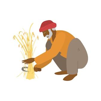 Векторная иллюстрация пожилого индийского фермера, сидящего на корточках, режущего пшеницу