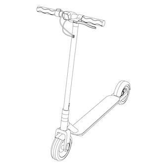 Векторная иллюстрация электрического скутера велосипеда - иллюстрация искусства линии