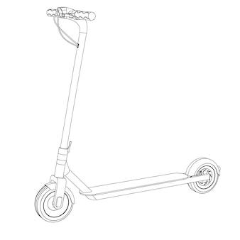 Векторная иллюстрация электрического скутера, линии искусства
