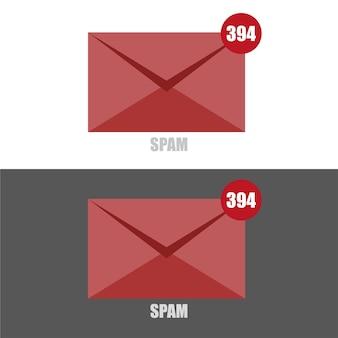 Векторная иллюстрация электронного спама с красным конвертом на черно-белом фоне