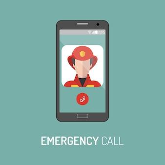 최신 유행의 플랫 스타일로 휴대전화에 경찰관 아이콘이 있는 긴급 경찰 전화의 벡터 그림.
