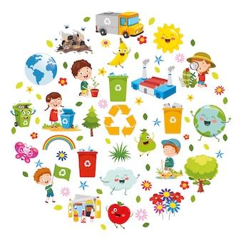 Векторная иллюстрация концепции дизайна окружающей среды