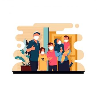 ウイルス、フラットなデザインコンセプトを防ぐためにマスクを着用しながら写真を撮る家族のキャラクターのベクトルイラスト。