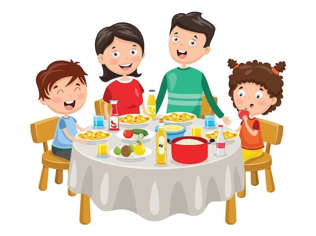 Векторная иллюстрация семьи с ужином