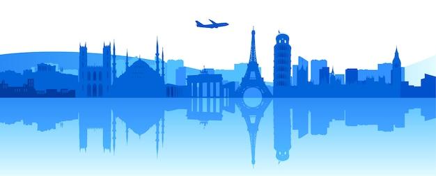 Векторная иллюстрация знаменитых зданий и памятников в европе