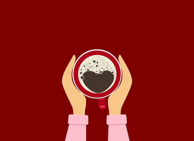 빨간 커피 한 잔을 들고 있는 여성의 손에 대한 벡터 삽화. 위에서 볼 수 있습니다. 커피에 하트 모양의 거품