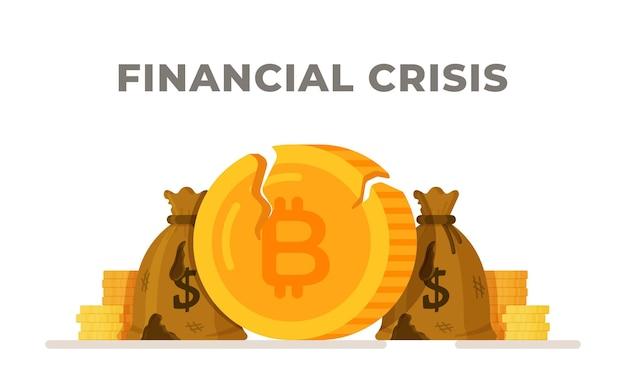 금융 위기의 벡터 일러스트 레이 션 돈 낭비 인간의 재정 지급 불능의 개념