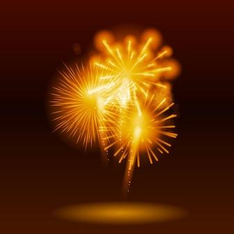 Векторная иллюстрация фейерверков, салют на темном фоне eps10