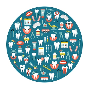 Векторная иллюстрация плоских иконок стоматологии в круглой форме
