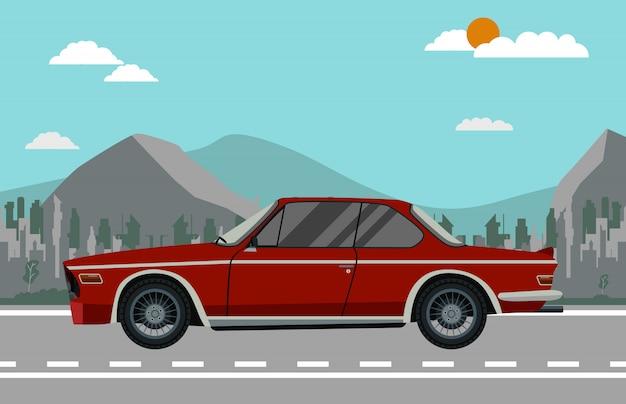 Векторная иллюстрация плоский дизайн красный ретро автомобиль